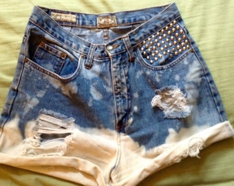 High Waisted Destroyed and Studded Shorts