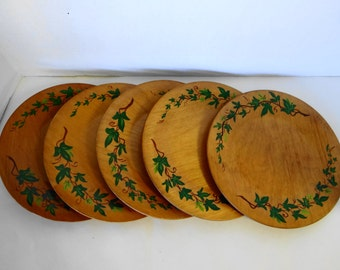 Vintage Handmade/HandPainted Wood Plates Set of 5-Salad Plates/Appetizer Plate/Natural /Down to Earth Plate/Gardener's Plate 9 inch Diameter