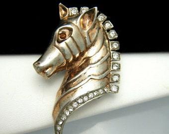 Vintage Sterling Vermeil Figural Brooch Zebra Head Rhinestones