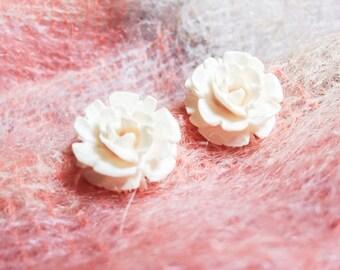Large White Rose Clip On Earrings