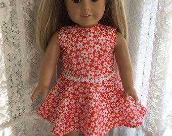 Orange and white flowered dress for 18 inch dolls