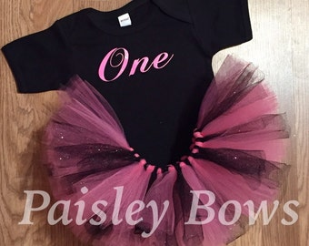 Pink and black 1st Birthday tutu set
