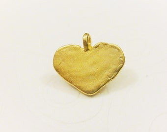 18k gold over 925 sterling silver heart charm or pendant, vermeil heart charm 1 pc., matte gold