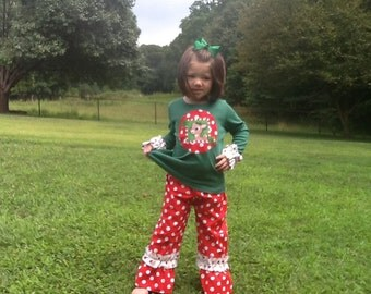 Christmas Rudolph Girl ruffle pants top outfit 12 18 2 3 4 5 6 7