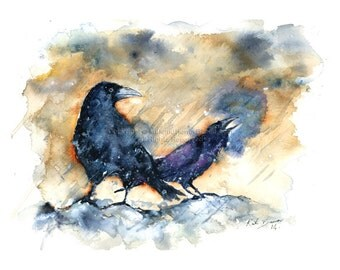 "Ravens in the Rain 8.5 x 11"" Print of watercolor painting"