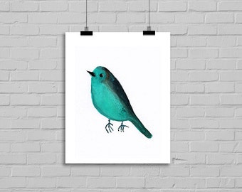 Bird Watercolor Print Teal Bird Watercolor Painting Art Print Illustration Art Drawing Watercolor Print Watercolour