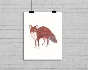 FOX PRINT Standing Fox Watercolor Painting Art Print Fox Art Print Archival Art Print Fox Watercolour