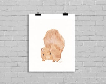 Woodland Squirrel Watercolor Painting Print