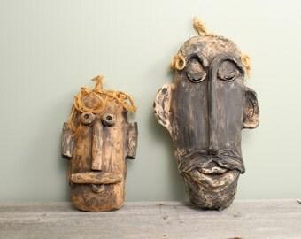 Modern Rustic Folk Art Signed Pottery Face Masks - Primitive Decor - Wall Hanging Decor - Vintage Wall Art - Mid Century Modern Wall Decor