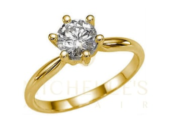 Engagement Ring Round Cut Diamond 2.25 Carat F SI1 Solitaire Ring 18K Yellow Gold For Women
