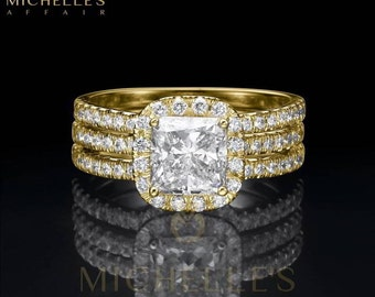 Cushion Cut Diamond Engagement Ring Half Eternity Wedding Band 2.25 Carat F VS1 Women Marriage Rings In Yellow Gold