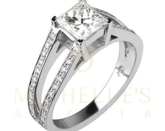 Diamond Ring 2.55 ct Women Solitaire Engagement Ring With Side Accents D VS2 Princess Cut In 18K White Gold Setting