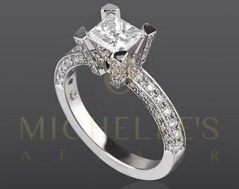 1.90 Carat H VVS2 Diamond Engagement Ring Princess Cut Wedding Ring In 14K White Gold Women Jewelry Size 4 5 6 7 8