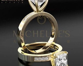 Engagement Ring With Accents 1.55 ct Princess Cut Diamond Certified D VS2 Ladies Yellow Gold Ring 18K Setting