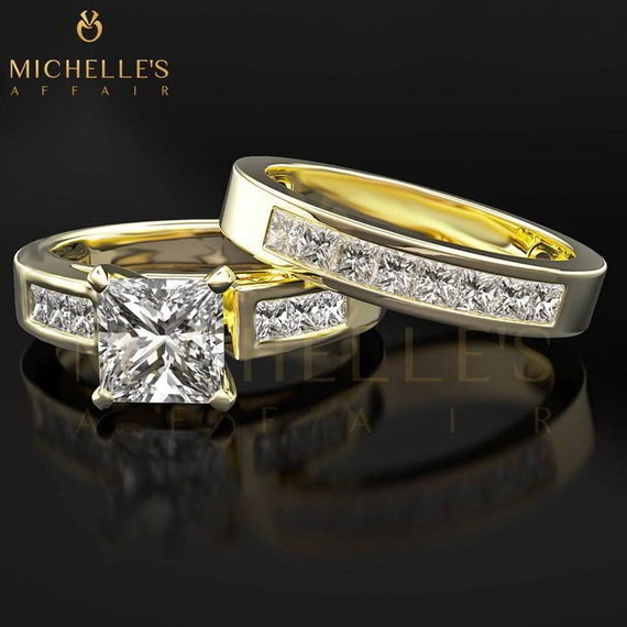 2 00 ct F SI2 Yellow Gold Diamond Engagement Ring Set Princess