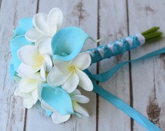 Wedding Bouquet Off White Plumerias and Aruba Aqua Turquoise Calla Lilies Silk Flower Bride Bouquet - Almost Fresh