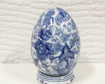 Blue & White Chinoiserie Decorative Egg Collectable with Markings on Bottom
