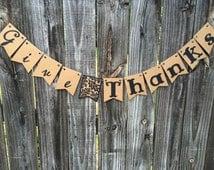 Give Thanks Banner, Thanksgiving Banner, Autumn Decor, Fall Decor