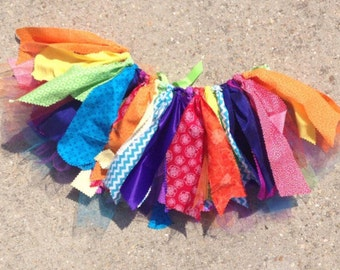Rainbow fabric tutu skirt, rainbow tutu, shabby chic rainbow, Choose your size - infant, toddler, child