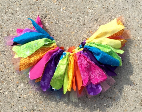 Rainbow Fabric Tutu Skirt