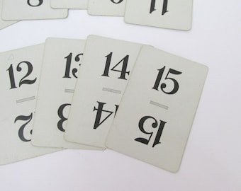 Vintage Flinch Cards for Wedding Table Numbers Card Numbers 1 - 15 Blue and White
