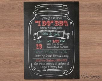I Do BBQ Chalk Mason Jar Invitation Digital Download
