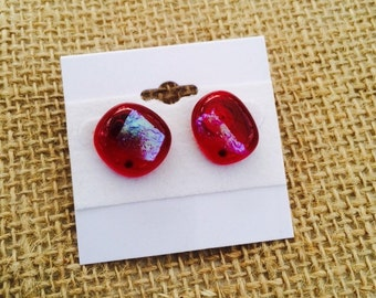 Beautiful red dicroic earrings fused glass