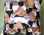 Cat Print Pillow Cover.  ...