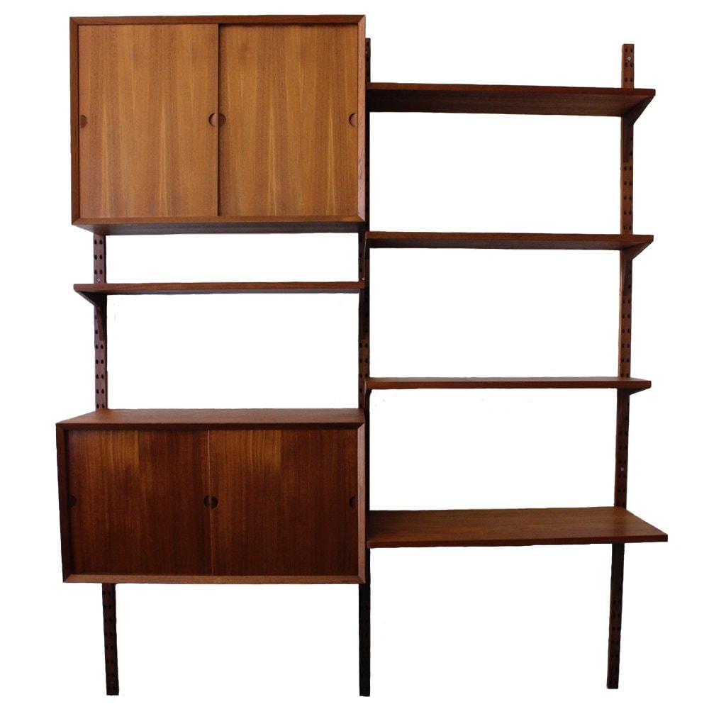 cado wall unit teak two bay vintage danish mid century. Black Bedroom Furniture Sets. Home Design Ideas