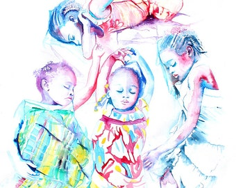 Original Watercolor Painting - Rainbow Children.