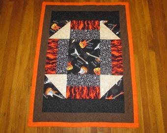 "Guitar Blanket Quilt / Electric Guitar / Skulls / Flames / Sheet Music - Rock n Roll quilt blanket wallhanging 45"" x 34"""