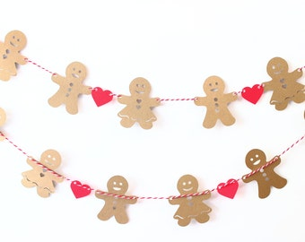 Christmas Gingerbread Man Garland, Gingerbread Girl, Holiday Decoration, Holiday Banner, Christmas Tree Decor, Rustic Christmas Decor