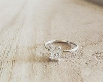 Emerald ring, emerald cut ring, emerald cut cz, sterling silver ring, silver ring, emerald solitaire ring, emerald rings, emerald jewelry,