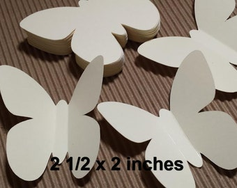 30 Large Ivory Butterfly Die Cuts, Butterfly Punch, Paper Butterfly, Butterfly Party, Baby Shower (2 1/2 x 2 inches)