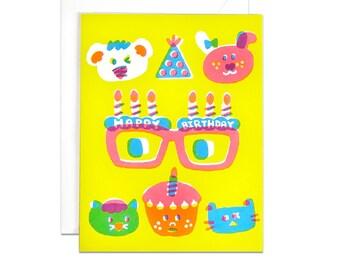 Birthday glasses screenprinted card