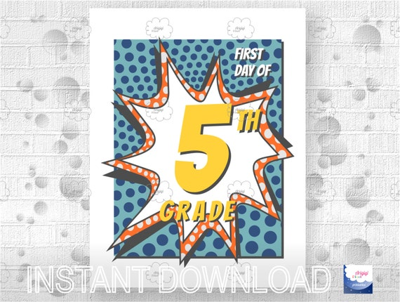 5th Grade First Day of School - printable poster