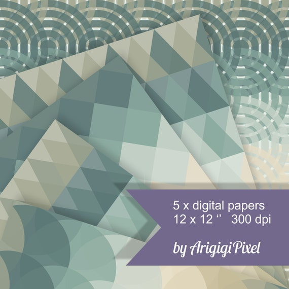 geometric digital collage sheet, digital background, printable scrapbooking papers, gray blue and beige, download