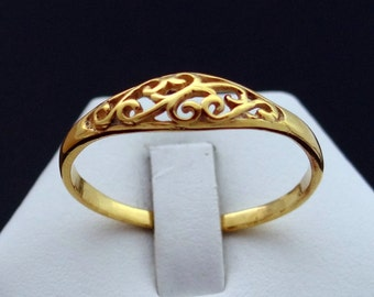 14 kt Gold plated Promise Ring, Solid Silver Ring Gold Skinned, Gold Tone Sterling Silver Ring, Cute Ring, Floral Ring, Cool Ring