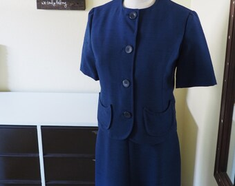 1960s Navy Dress with Cropped Jacket