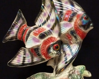 Lovely Large Jema Holland Angelfish Figurine - More Unusual Colour with Red and Black Lustres