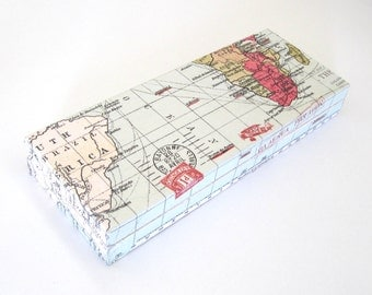 Wood pencil box with sections, decoupage pen box world map , ooak, office accessory , school pen case , gift for traveler, gift for graduate
