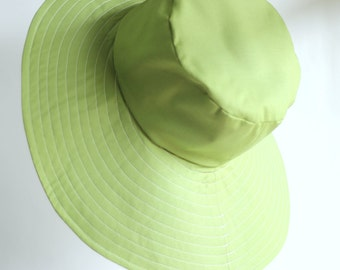 Ladies Sunhat in Green Size M Wide Brim