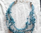 crocheted beaded necklace genuine gemstone, neon apatite chips.  made in Ireland