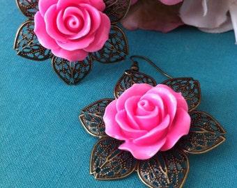 Stunning Bronzed Pink Rose Earrings