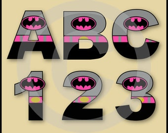 Batgirl 2 Alphabet Letters & Numbers Clip Art Graphics