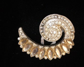 Vintage Rhinestone Dress Clip--Bright White