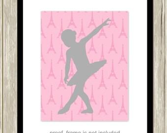 Baby girl nursery, ballerina poster, french nursery decor, girls room decor, ballerina nursery, eiffel tower, ballet dancer