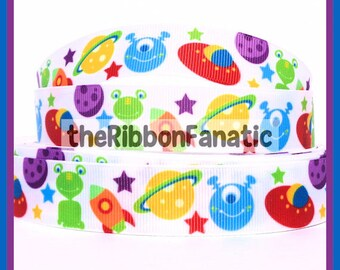 "5 yds 7/8"" Outerspace Alien Spaceship Planets Grosgrain Ribbon"