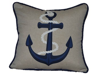 "Indoor / Outdoor 16"" Tan, White, Navy Blue Corded Nautical / Coastal Anchor Decorative Throw Pillow - Buy One Get One Free"