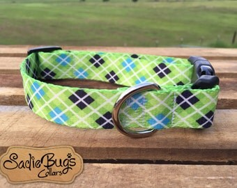 Plaid dog collar - Lime Green and Turquoise